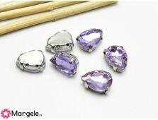 Distantier montee cu rhinestone de cristal 14x10mm violet