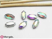 Distantier montee cu rhinestone de cristal 15x7mm transparent ab