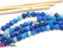 Agate striped frosted 6mm albastru (1buc)
