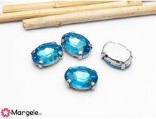 Distantier montee cu rhinestone de cristal 14x10mm capri blue