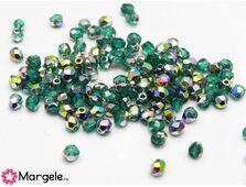 Fire polish 3mm emerald vitral (20buc)