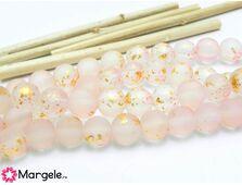 Margele sticla mate 8mm roz (10buc)