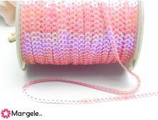 Panglica paiete rotunde 4mm roz sirena (1m)