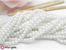 Perle de sticla 4mm alb dublu sidefat (10buc)