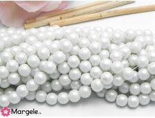 Perle de sticla 6mm alb dublu sidefat (10 buc)