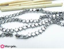 Hematit steluta 6x6mm argintiu (1buc)