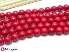 Perle tip mallorca 6mm rosu (1buc)