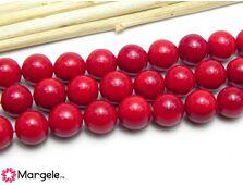 Perle tip mallorca 8mm rosu (1buc)