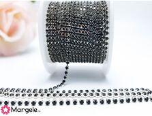 Lant argintiu cu strasuri 2mm negru (0.5m)