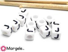 Margele acrilice litera j 6x6mm (10buc)