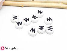 Margele acrilice litera w 7x4mm  (10buc)
