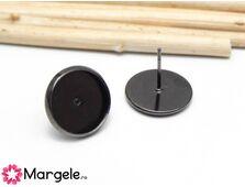 Baza cercei cu tija negru, platou 12mm (2buc)