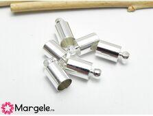 Capat de snur 11x7mm argintiu interior 6mm