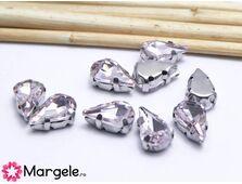 Distantier montee cu rhinestone de cristal 10x6mm roz