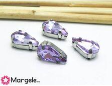 Distantier montee cu rhinestone de cristal 13x8mm violet