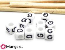 Margele acrilice litera g 6x6mm (10buc)