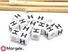 Margele acrilice litera h 6x6mm (10buc)