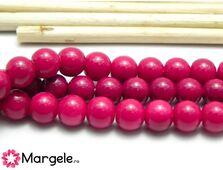 Margele sticla 6mm magenta opac (10buc)
