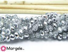 Cristal rondel 4x3mm argintiu cu transparent (1buc)