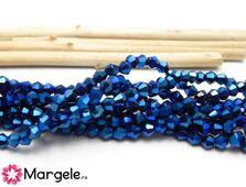 Cristale biconice 3mm albastru metalic (10buc)
