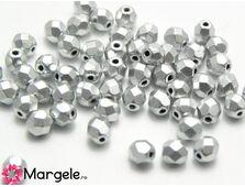 Fire polish 4mm matte metallic silver (20buc)