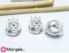 Margele distantier leu 15x11mm argintiu (1buc)