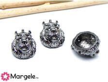 Margele distantier leu 15x11mm negru (1buc)