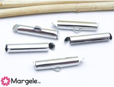 Capat miyuki/toho slide tube 20x5.5x4mm argintiu inchis (2buc)