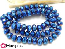 Cristal rondel electroplacat 8x6mm albastru