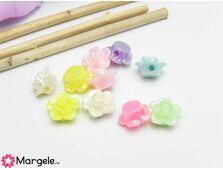 Margele acrilice 13x8mm floare mix (10buc)