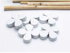 Margele de lemn floare 20x5mm alb (5buc)