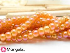 Margele sticla electroplacate 4mm coral (10buc)
