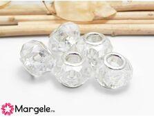 Margele tip pandora cristal 14x8mm transparent
