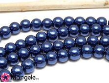 Perle de sticla 6mm albastru inchis (10buc)
