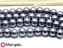 Perle de sticla 6mm gri inchis (10buc)