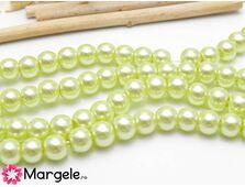 Perle de sticla 6mm verde galbui (10buc)