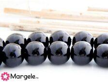 Perle de sticla 8mm negru (10buc)