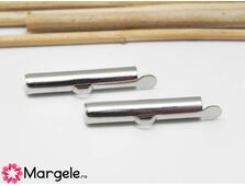 Capat miyuki/toho slide tube 25x5.5x4mm argintiu inchis (2buc)