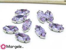 Distantier montee cu rhinestone de cristal 10x5mm violet