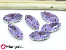 Distantier montee cu rhinestone de cristal 15x7mm violet
