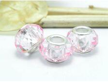 Margele tip pandora cristal 14x8mm roz