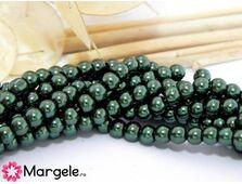Perle de sticla 4mm verde inchis (10buc)