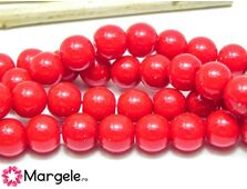 Perle de sticla 8mm rosu opac (10buc)
