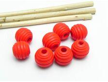 Margele de lemn 12mm rosu (10buc)