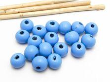 Margele de lemn sfere 10x9mm albastru (10buc)