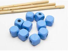 Margele de lemn cub 10mm albastru (10buc)