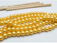 Perle de sticla 6mm auriu (10 buc)