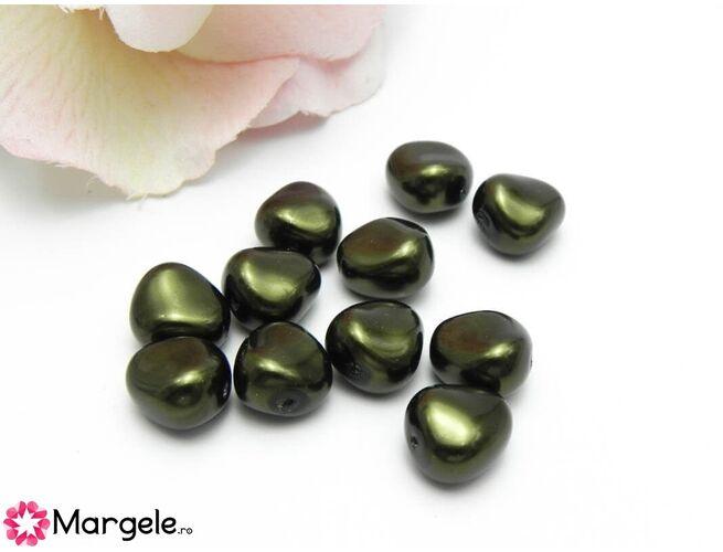 Perle preciosa elliptic 11x9.5mm dark green (1buc)