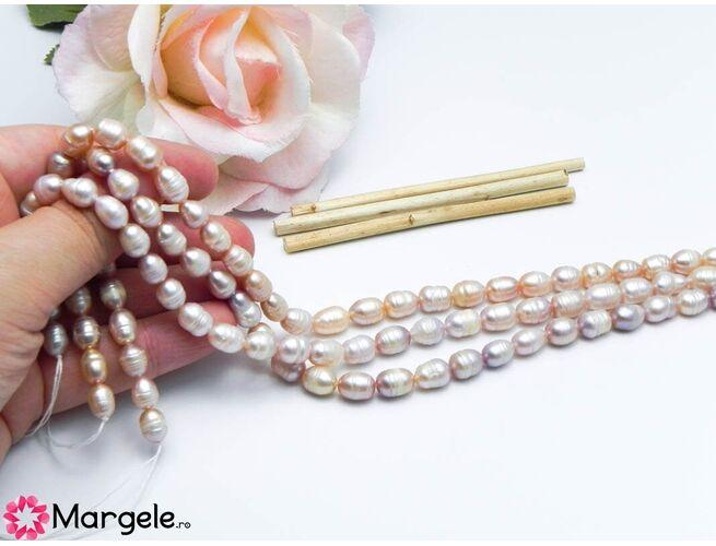 Șirag perle de cultură roz movuliu 9x6mm