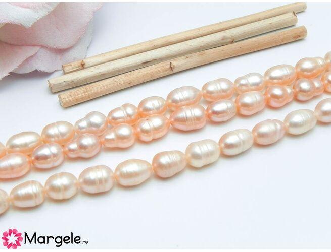 Șirag perle de cultură roz somon 9x6mm